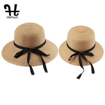 FURTALK summer hat for women straw hats for beach sun hat travel bucket hat panama Parent-child summer hats