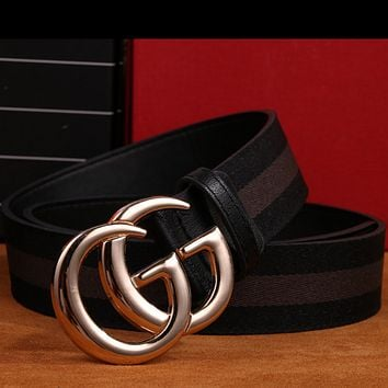 GUCCI Fashion Woman Men Fashion Smooth Buckle Belt Leather Belt Coffee Black G