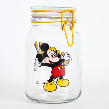 Vintage 1980s Mickey Mouse Mason Jar, Glass Goodies Snack Cookie Jar, Walt Disney Productions Anchor Hocking