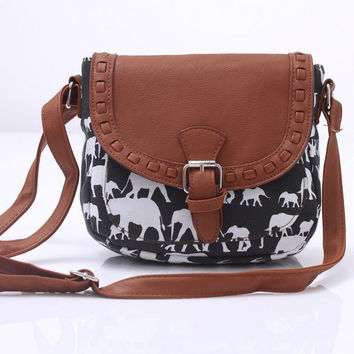 Cute Women's Elephant Pattern Buckle Flap Crossbody Shoulder Bag