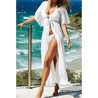 Beach Outings Cover Up Chiffon Lace Robe