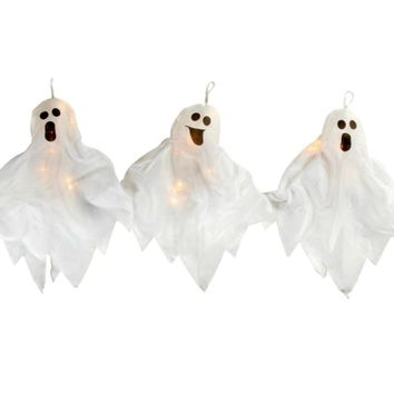Set of 3 Lighted Haunted Halloween Ghost Pathway Marker Yard Art Decorations