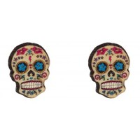 WOODEN MEXICAN SUGAR SKULL STUD EARRINGS