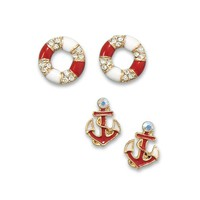 Set of 2 Nautical Themed Fashion Earrings