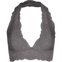 Lace Halter Bralette Charcoal  In Sizes