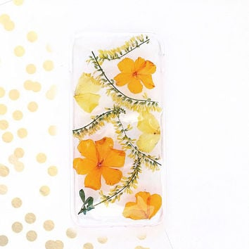 Sunny iPhone 6 and 6s case, orange flowers case, real pressed flower phone case, marigolds case
