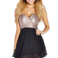 Copper Gold Sequins and Black Flowy Mini Dress