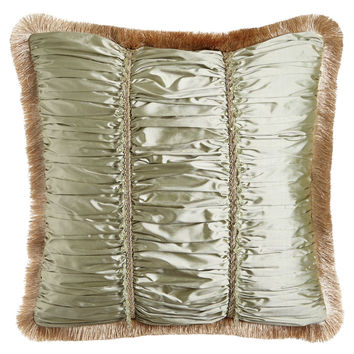 "Sahara Ruched Silk Pillow with Beads, Gimp, & Fringe, 22""Sq. - Sweet Dreams"