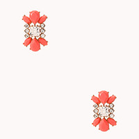 FOREVER 21 Touch-Of-Glam Faux Stone Studs Gold/Coral One