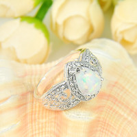 10 Pieces 1 Lot  Mix Size Drop white Fire Opal Crystal Silver Plated Wedding Rings Russia USA Mother Rings Australia Rings