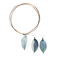 Real Leaf Pendant Necklace Earring Set Genuine Leather Copper Necklaces Women Boho Jewelry Set Gift 171129