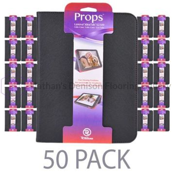 (50-Pack) PC Treasures Props Folio Case for Lenovo IdeaTab S2109 9.7 Tablet w/Two Viewing Positions (Black)
