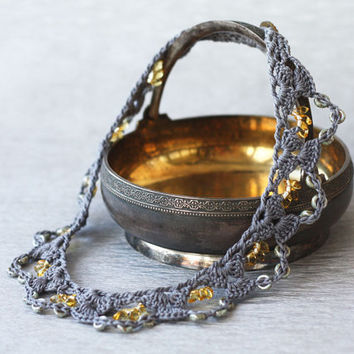 Lace choker necklace Beaded crochet collar Yellow grey boho chic jewelry Gift for her Spring fashion Picasso beads
