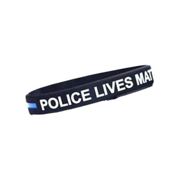 Police Lives Matter Wristbands Black Thin Blue Line Silicone Rubber Bracelets