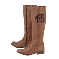 Monogrammed Riding Boots