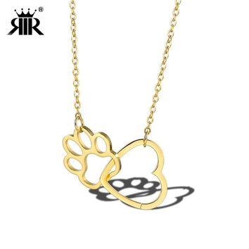 RIR Gold Hollow Cute Animal Dog Paw Love Heart Pendant Necklaces Pet Memorial In Memory of Your Loss Pets Best Friendship Gift
