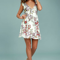 Mink Pink Sweet Escape Mint Green Floral Print Dress