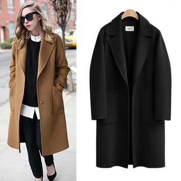 Wool Coat Autumn Winter Casual Long Coats Loose Thick Warm Outerwear With Pockets Black Camel Women's Coat