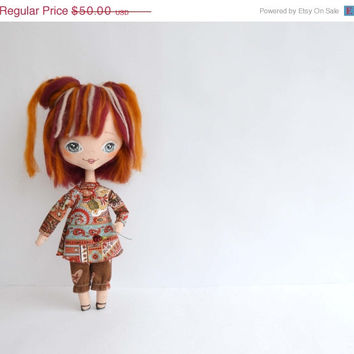 CHRISTMAS SALE Cloth doll - Rose, Art doll, Textile doll, Rag doll