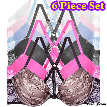 Buy 1 Get 5 Free of Lace band Push Up Open front Plunge Bra # 8971