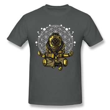 Diver Yoga Buddha Meditation Spiritual Flower Of Life  T Shirt Male Harajuku T-Shirt Round Neck Big Size Homme T Shirt