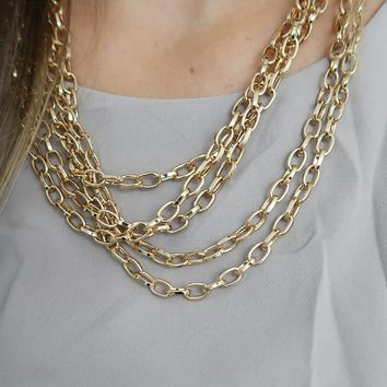 Linked To You Necklace: Gold