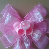 Baby Shower Bow, Pink Baby Bow, Baby Gift Bow, Birth Announcement Hospital Door Decoration, Booties Gift Decoration Bow