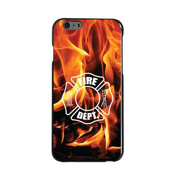 DistinctInk® Hard Plastic Snap-On Case for Apple iPhone - Flames Fire Department
