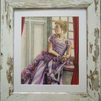 Framed original artwork - Shabby Chic - Colored pencil drawing - Princess art - White chipped paint - Little girl decor - Princess decor