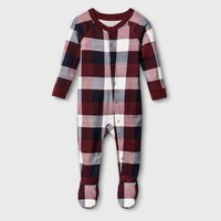 Baby Plaid Union Suit - Red