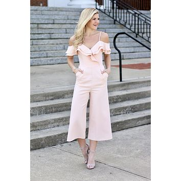 Better Than Ever Off Shoulder Tulip Ruffle Jumpsuit (Blush)