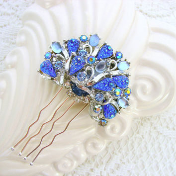 Blue Rhinestone Hair Comb Vintage Bride Wedding Formal Pageant Aurora Borealis