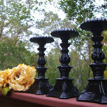 Glossy Black Set of 3 Candle Holders8 by PetiteSophisticateDz