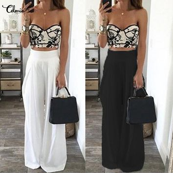 Women High Waist Loose Wide Leg Pants 2018 Summer Spring Casual Side Zipper Solid Long Trousers Beach Dance Pants Plus Size