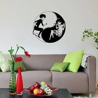 Beautiful Girl (Angel) and Boy (Hell) Anime Yin Yang Wall Vinyl Decal Art Design Murals Interior Decor Sticker Sv2270