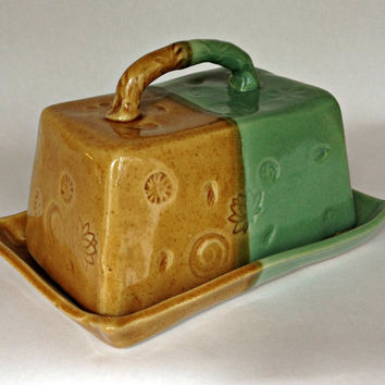 Handmade Ceramic Pottery Butter Dish Green and Gold glaze pottery ceramic butter dish