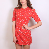 1950s (50s) Retro Puff Sleeve Red Polka Dot Dress