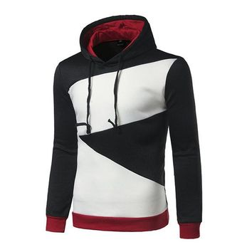 Mens Fall Winter Stitching Color Hip-Hop Casual Sport Hooded Tops
