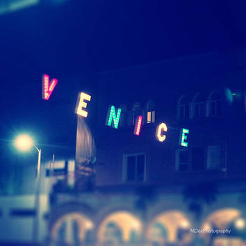 Venice Sign Fine Art Print Beach Decor Landscape Photograph Minimalist California 8x10