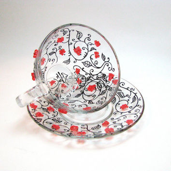 Tea Cup and Saucer, Red Berries tea cup and saucer set,  Unique Tea Mugs, Hand Painted Glass Teacup Set