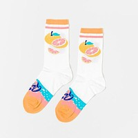 La Queen Women's Crew Socks in Pomelo Grapefruit Design