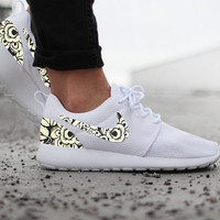 Nike Roshe Run Womens White with Custom Black White Floral Print