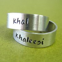Khal & Khaleesi Rings - Pair of Adjustable His and Hers Aluminum Rings - Game of Thrones Rings
