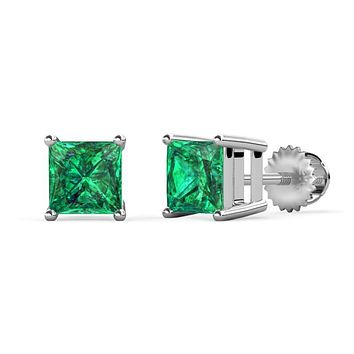 Perfect Colombian 14K White Gold 2CT Princess Cut Emerald Green Stud Earrings