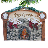 Family name ornament - 4 Stockings hung on the fireplace - Christmas Ornament - Personalized free
