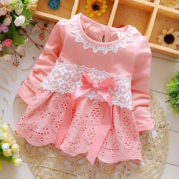 Xemonale Baptism 2016 New Summer Fashion Four Leave Grass Lace Children Baby Girls Short-sleeved Dress Dresses