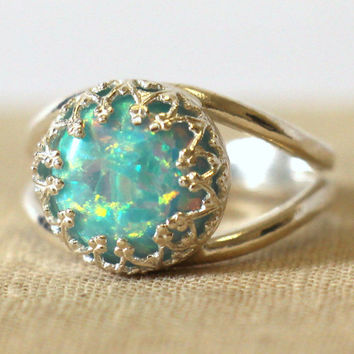 Opal Mint,Mint Green Opal Ring Silver Opal Ring gift for woman Silver Mint Opal Ring Bridesmaids gift,Opal jewelry,Opal jewelry, Opal Ring