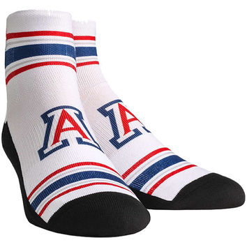 Arizona Wildcats Classic Stripes Quarter-Length Socks - White