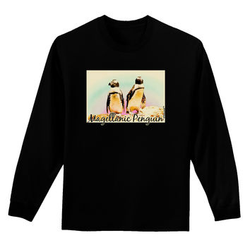 Magellanic Penguin Text Adult Long Sleeve Dark T-Shirt