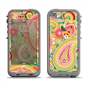 The Vibrant Green and Pink Paisley Pattern Apple iPhone 5c LifeProof Fre Case Skin Set